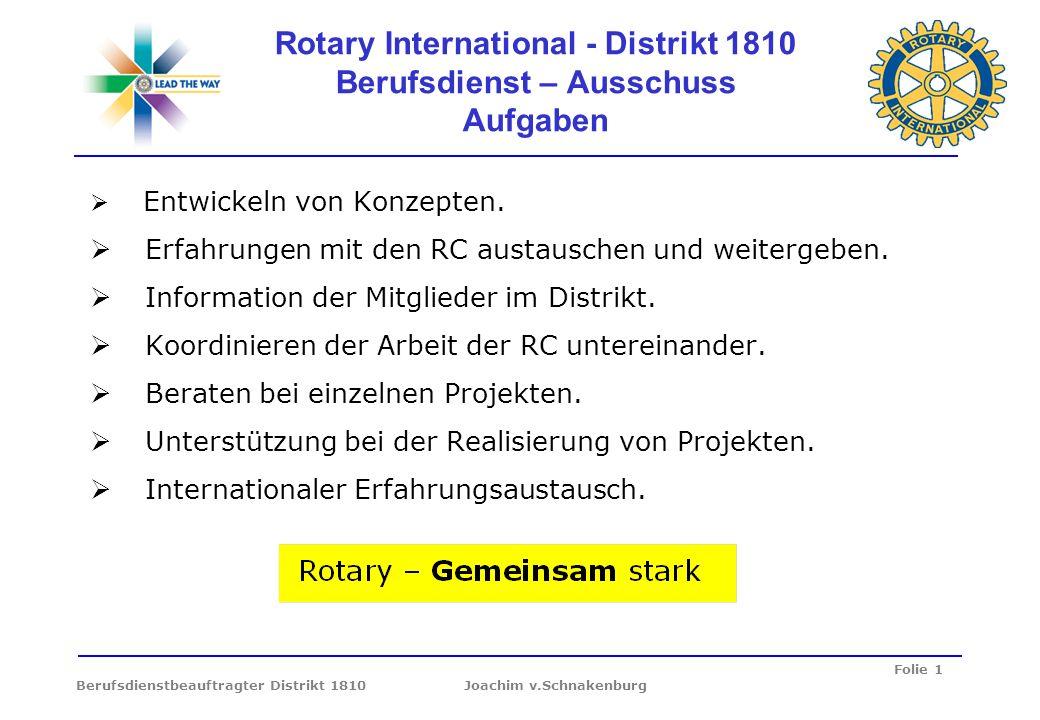 Folie 1 Berufsdienstbeauftragter Distrikt 1810 Joachim v.Schnakenburg Rotary International - Distrikt 1810 Berufsdienst – Ausschuss Aufgaben Entwickel