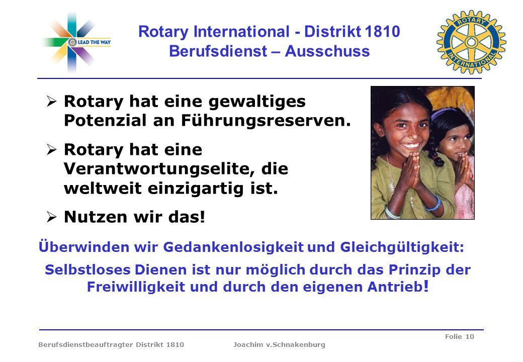 Folie 10 Berufsdienstbeauftragter Distrikt 1810 Joachim v.Schnakenburg Rotary International - Distrikt 1810 Berufsdienst – Ausschuss Überwinden wir Ge