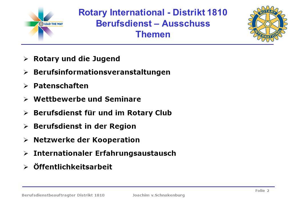 Folie 2 Berufsdienstbeauftragter Distrikt 1810 Joachim v.Schnakenburg Rotary International - Distrikt 1810 Berufsdienst – Ausschuss Themen Rotary und