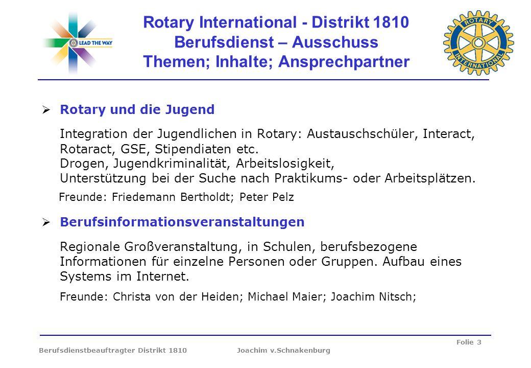 Folie 3 Berufsdienstbeauftragter Distrikt 1810 Joachim v.Schnakenburg Rotary International - Distrikt 1810 Berufsdienst – Ausschuss Themen; Inhalte; A