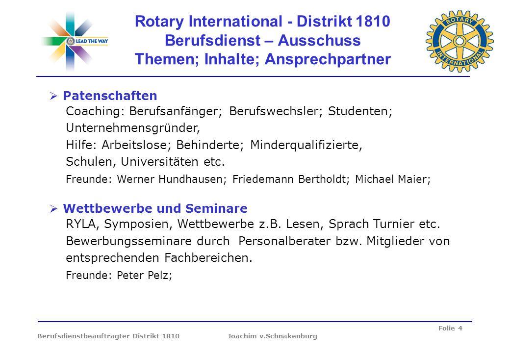 Folie 4 Berufsdienstbeauftragter Distrikt 1810 Joachim v.Schnakenburg Rotary International - Distrikt 1810 Berufsdienst – Ausschuss Themen; Inhalte; A