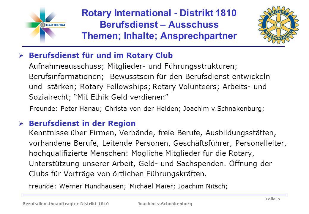 Folie 5 Berufsdienstbeauftragter Distrikt 1810 Joachim v.Schnakenburg Rotary International - Distrikt 1810 Berufsdienst – Ausschuss Themen; Inhalte; A