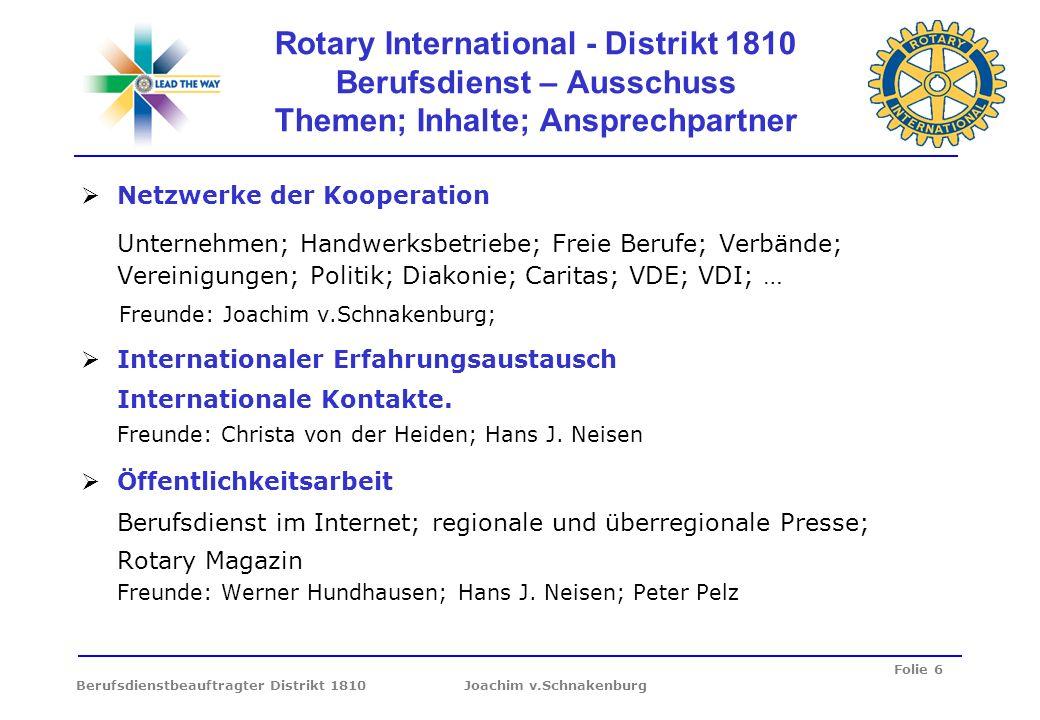 Folie 6 Berufsdienstbeauftragter Distrikt 1810 Joachim v.Schnakenburg Rotary International - Distrikt 1810 Berufsdienst – Ausschuss Themen; Inhalte; A