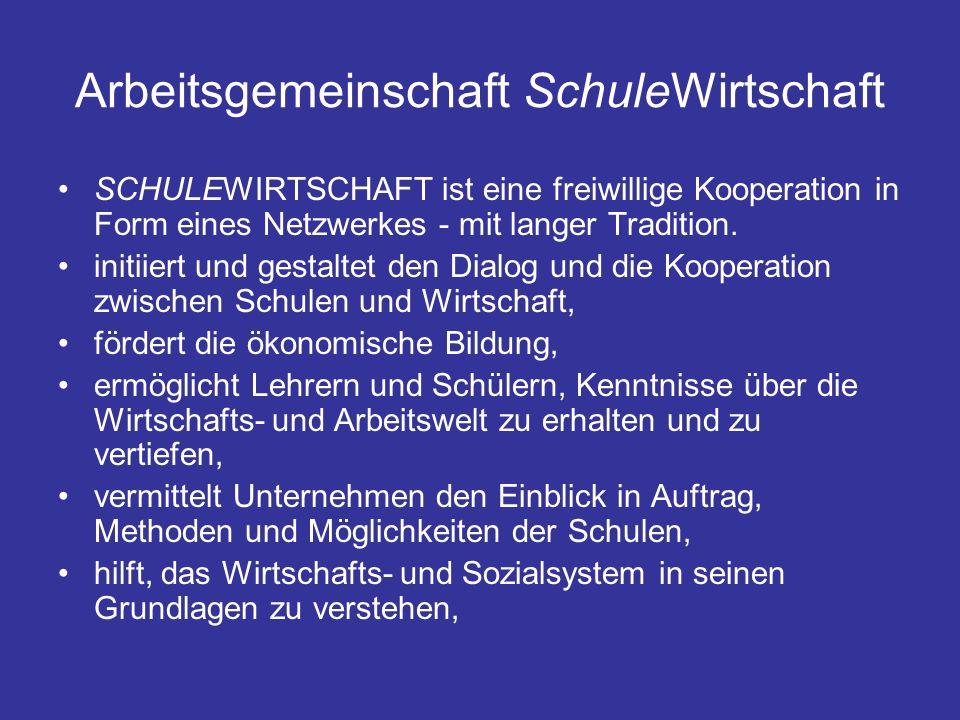 Arbeitsgemeinschaft SchuleWirtschaft SCHULEWIRTSCHAFT ist eine freiwillige Kooperation in Form eines Netzwerkes - mit langer Tradition.
