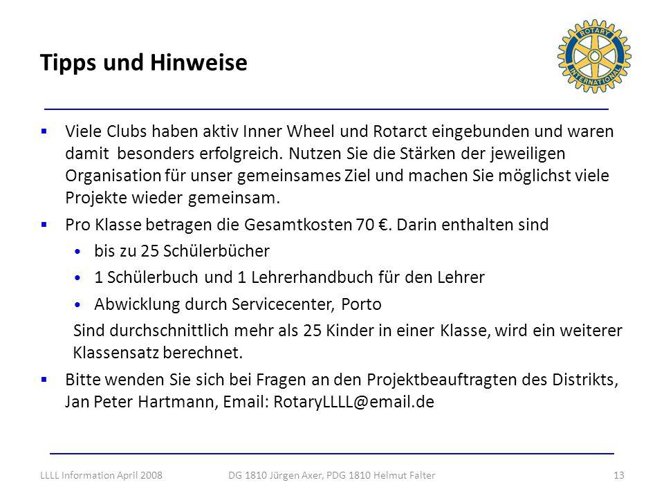 Viele Clubs haben aktiv Inner Wheel und Rotarct eingebunden und waren damit besonders erfolgreich. Nutzen Sie die Stärken der jeweiligen Organisation