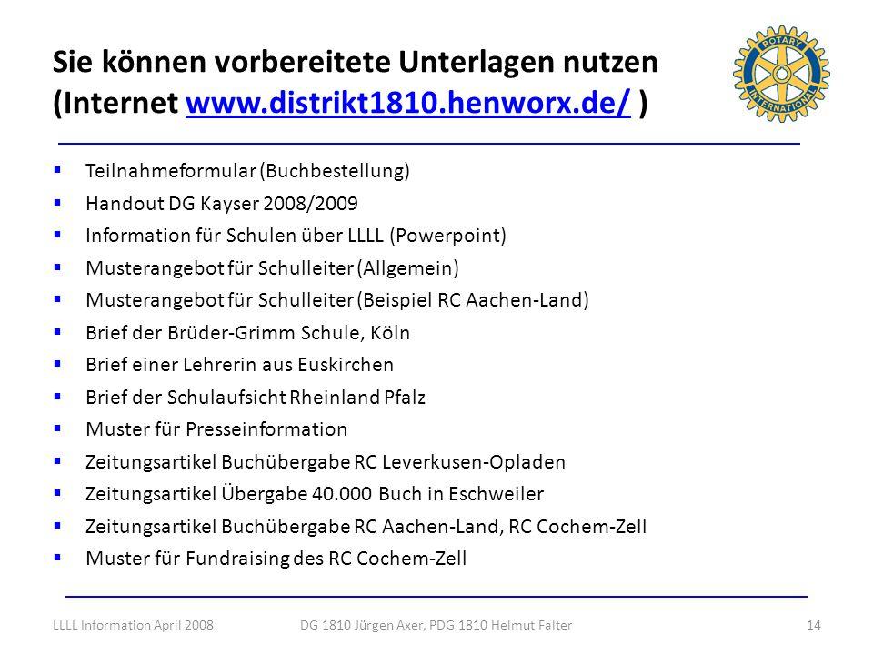 Teilnahmeformular (Buchbestellung) Handout DG Kayser 2008/2009 Information für Schulen über LLLL (Powerpoint) Musterangebot für Schulleiter (Allgemein