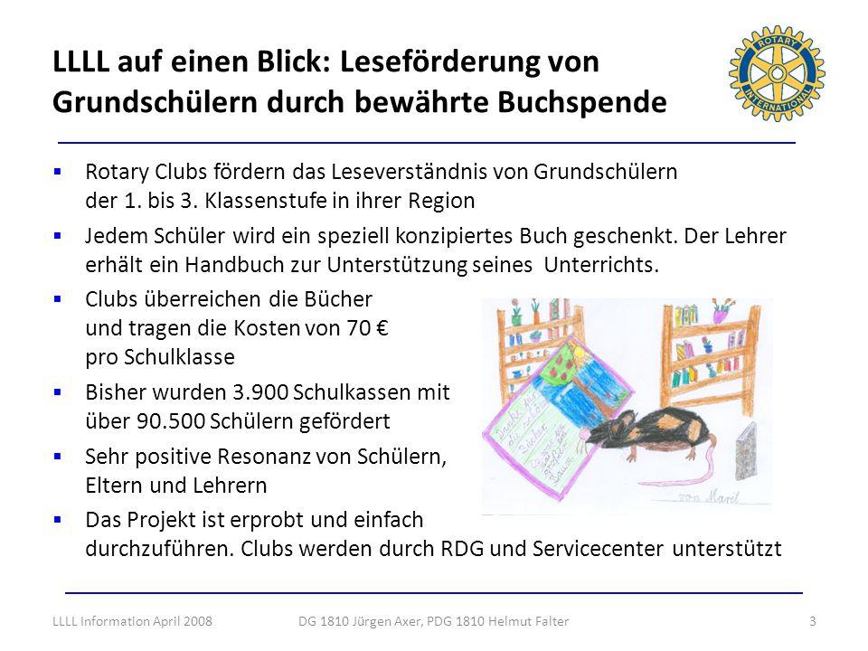 LLLL auf einen Blick: Leseförderung von Grundschülern durch bewährte Buchspende DG 1810 Jürgen Axer, PDG 1810 Helmut Falter3 Rotary Clubs fördern das