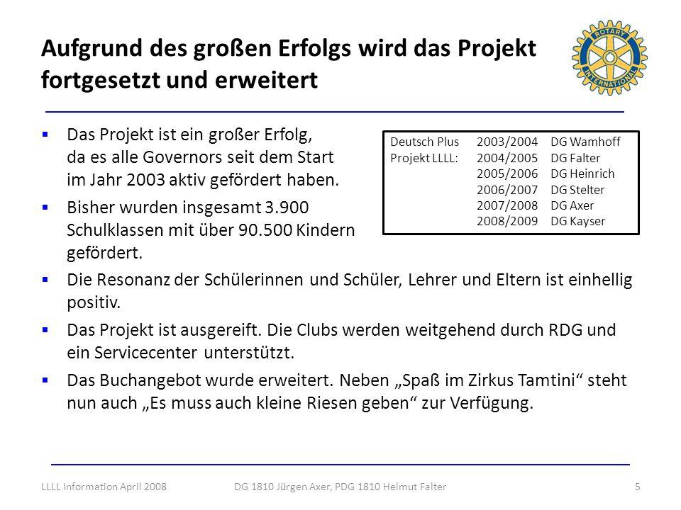 Beispiele positiven Feedbacks einer Schulaufsicht und einer Lehrerin 16DG 1810 Jürgen Axer, PDG 1810 Helmut FalterLLLL Information April 2008