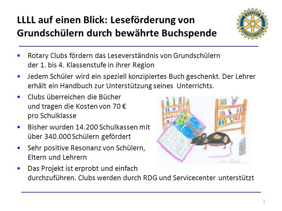 LLLL auf einen Blick: Leseförderung von Grundschülern durch bewährte Buchspende 1 Rotary Clubs fördern das Leseverständnis von Grundschülern der 1. bi