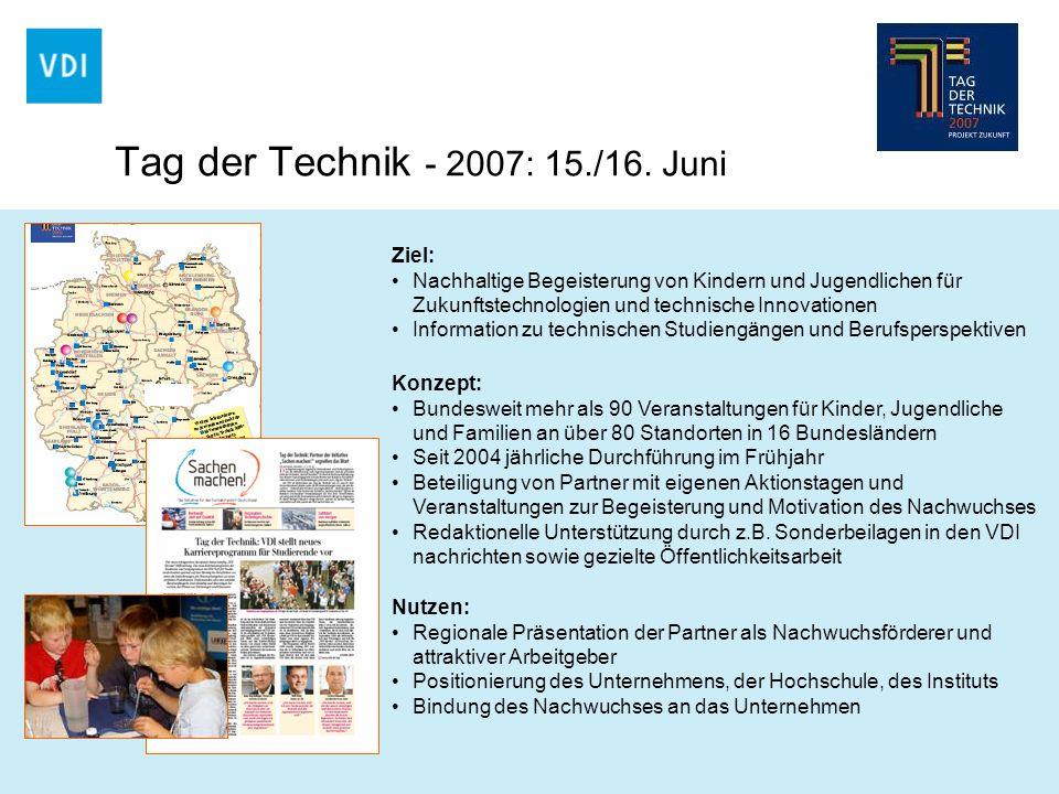Ziel: Nachhaltige Begeisterung von Kindern und Jugendlichen für Zukunftstechnologien und technische Innovationen Information zu technischen Studiengän