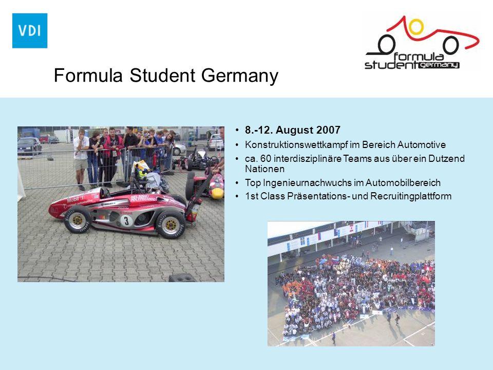 Formula Student Germany 8.-12. August 2007 Konstruktionswettkampf im Bereich Automotive ca. 60 interdisziplinäre Teams aus über ein Dutzend Nationen T