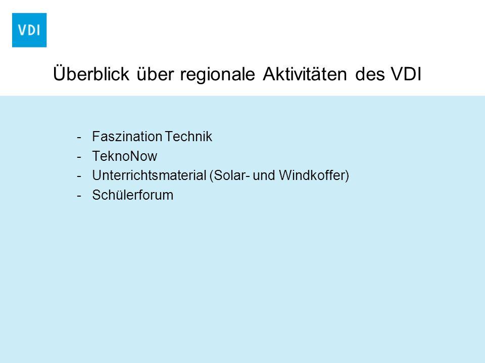 Überblick über regionale Aktivitäten des VDI -Faszination Technik -TeknoNow -Unterrichtsmaterial (Solar- und Windkoffer) -Schülerforum
