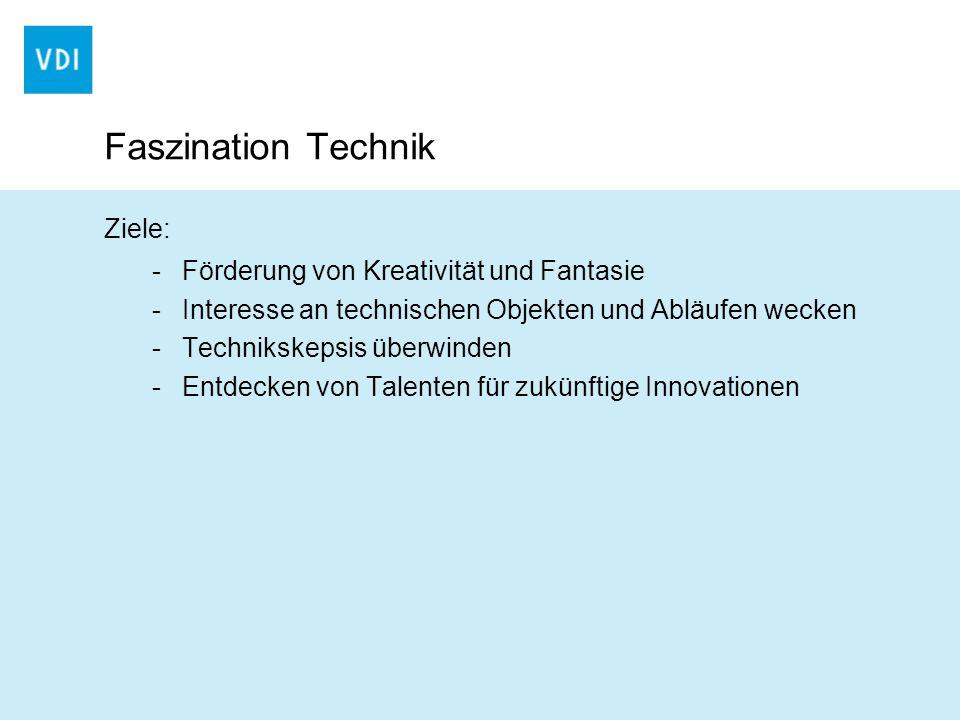Faszination Technik Ziele: -Förderung von Kreativität und Fantasie -Interesse an technischen Objekten und Abläufen wecken -Technikskepsis überwinden -