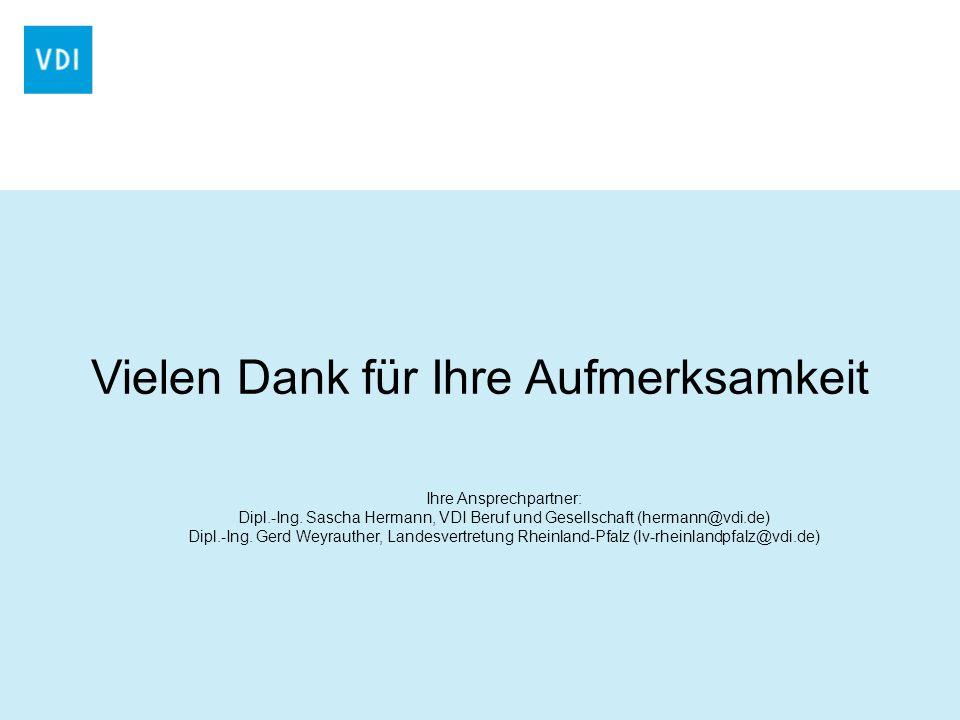 Vielen Dank für Ihre Aufmerksamkeit Ihre Ansprechpartner: Dipl.-Ing. Sascha Hermann, VDI Beruf und Gesellschaft (hermann@vdi.de) Dipl.-Ing. Gerd Weyra