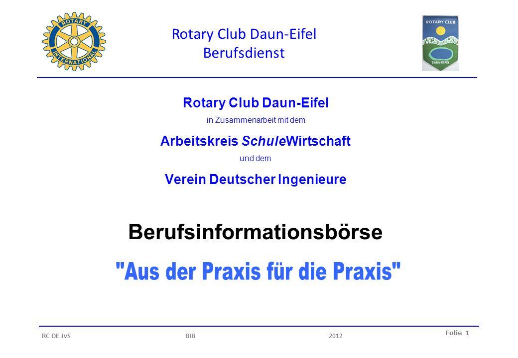 Rotary Club Daun-Eifel Berufsdienst Folie 1 RC DE JvS BIB2012 Rotary Club Daun-Eifel in Zusammenarbeit mit dem Arbeitskreis SchuleWirtschaft und dem V