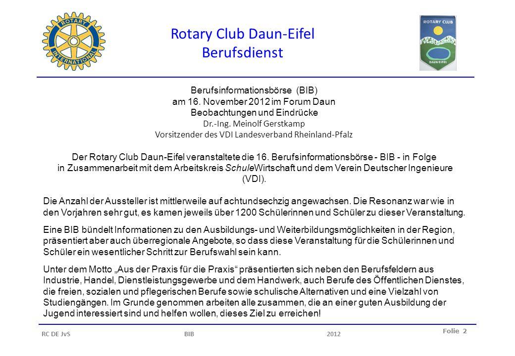 Rotary Club Daun-Eifel Berufsdienst Folie 3 RC DE JvS BIB2012 Unter dem Motto Aus der Praxis für die Praxis präsentierten sich neben den Berufsfeldern aus Industrie, Handel, Dienstleistungsgewerbe und dem Handwerk, auch Berufe des Öffentlichen Dienstes, die freien, sozialen und pflegerischen Berufe sowie schulische Alternativen und eine Vielzahl von Studiengängen.