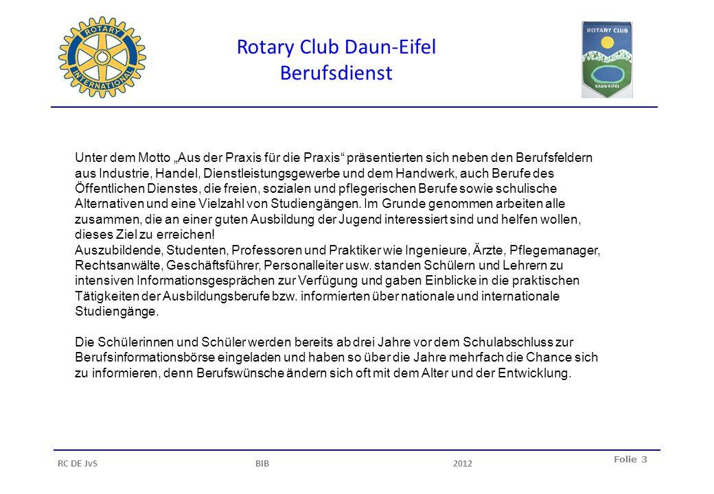 Rotary Club Daun-Eifel Berufsdienst Folie 3 RC DE JvS BIB2012 Unter dem Motto Aus der Praxis für die Praxis präsentierten sich neben den Berufsfeldern