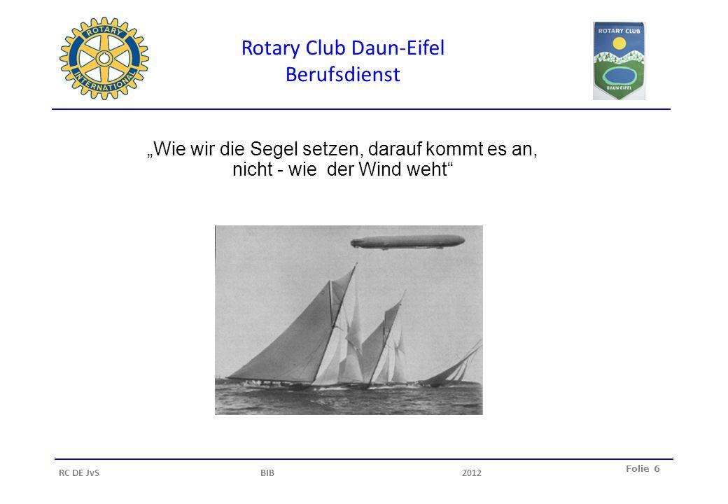 Rotary Club Daun-Eifel Berufsdienst Folie 6 RC DE JvS BIB2012 Wie wir die Segel setzen, darauf kommt es an, nicht - wie der Wind weht