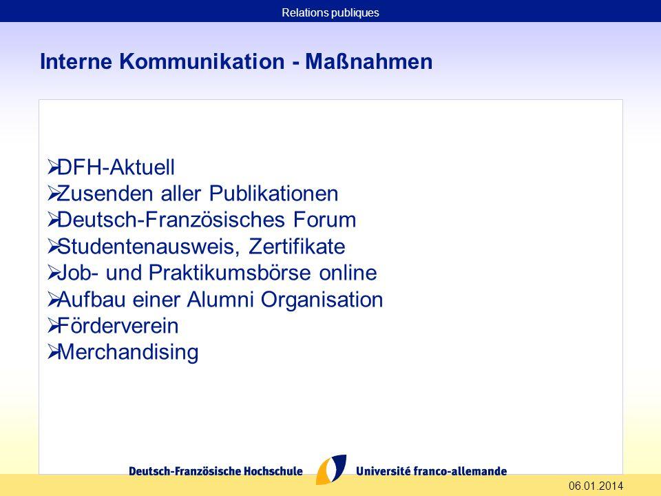 06.01.2014 Interne Kommunikation - Maßnahmen DFH-Aktuell Zusenden aller Publikationen Deutsch-Französisches Forum Studentenausweis, Zertifikate Job- u