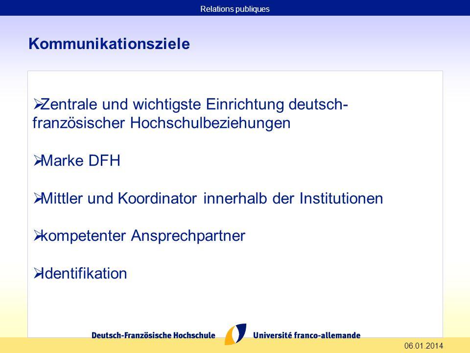 06.01.2014 Kommunikationsziele Zentrale und wichtigste Einrichtung deutsch- französischer Hochschulbeziehungen Marke DFH Mittler und Koordinator inner