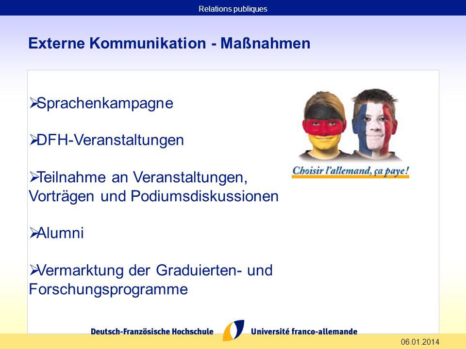 06.01.2014 Externe Kommunikation - Maßnahmen Sprachenkampagne DFH-Veranstaltungen Teilnahme an Veranstaltungen, Vorträgen und Podiumsdiskussionen Alum