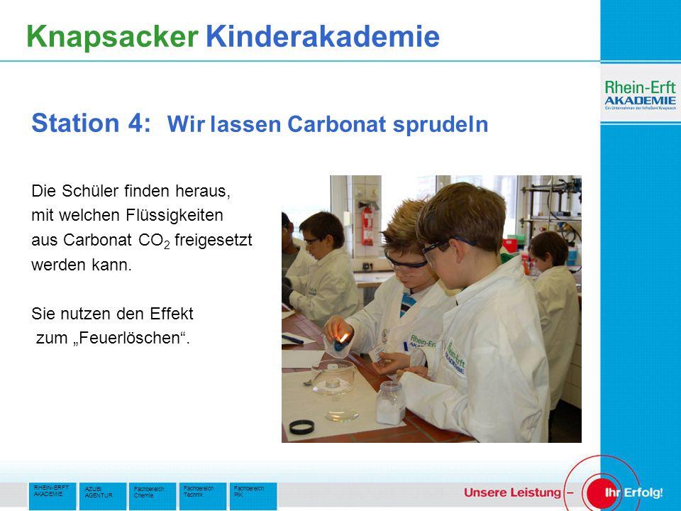 RHEIN-ERFT AKADEMIE Fachbereich PIK Fachbereich Technik AZUBI AGENTUR Fachbereich Chemie Knapsacker Kinderakademie Station 4: Wir lassen Carbonat spru