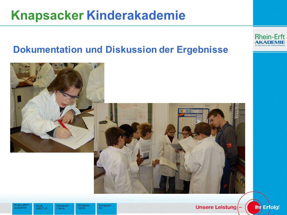 RHEIN-ERFT AKADEMIE Fachbereich PIK Fachbereich Technik AZUBI AGENTUR Fachbereich Chemie Knapsacker Kinderakademie Dokumentation und Diskussion der Ergebnisse