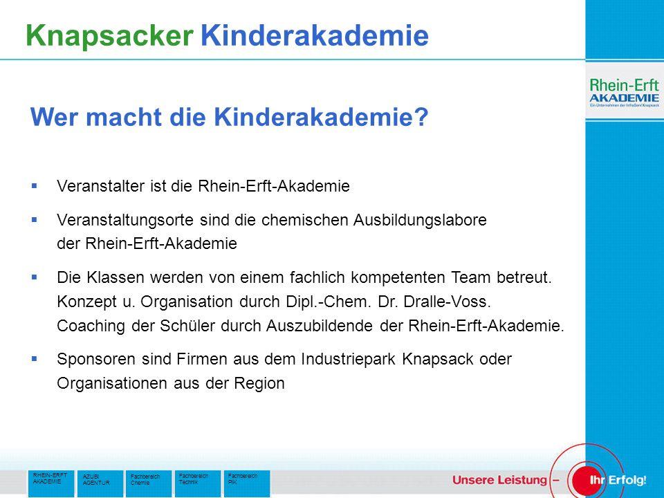 RHEIN-ERFT AKADEMIE Fachbereich PIK Fachbereich Technik AZUBI AGENTUR Fachbereich Chemie Knapsacker Kinderakademie Veranstalter ist die Rhein-Erft-Akademie Veranstaltungsorte sind die chemischen Ausbildungslabore der Rhein-Erft-Akademie Die Klassen werden von einem fachlich kompetenten Team betreut.