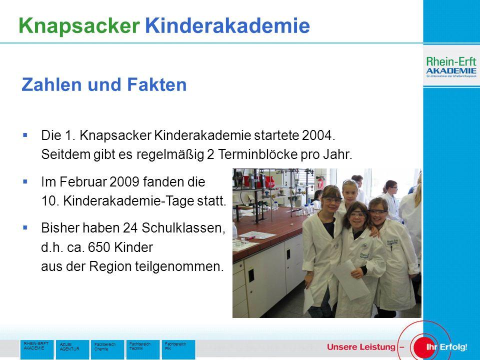 RHEIN-ERFT AKADEMIE Fachbereich PIK Fachbereich Technik AZUBI AGENTUR Fachbereich Chemie Knapsacker Kinderakademie Die 1.