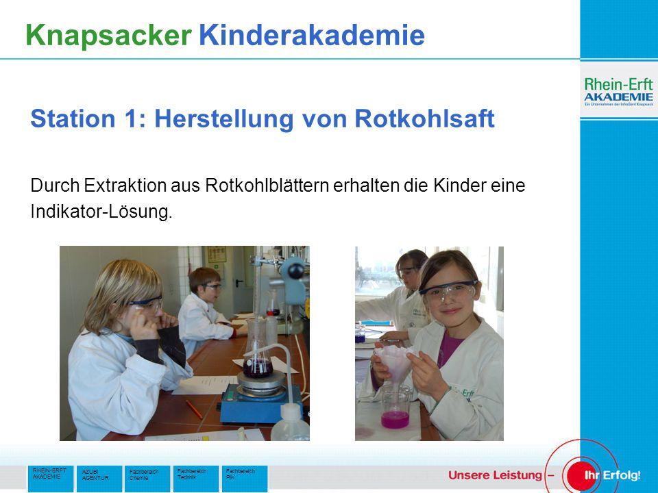 RHEIN-ERFT AKADEMIE Fachbereich PIK Fachbereich Technik AZUBI AGENTUR Fachbereich Chemie Knapsacker Kinderakademie Station 1: Herstellung von Rotkohls