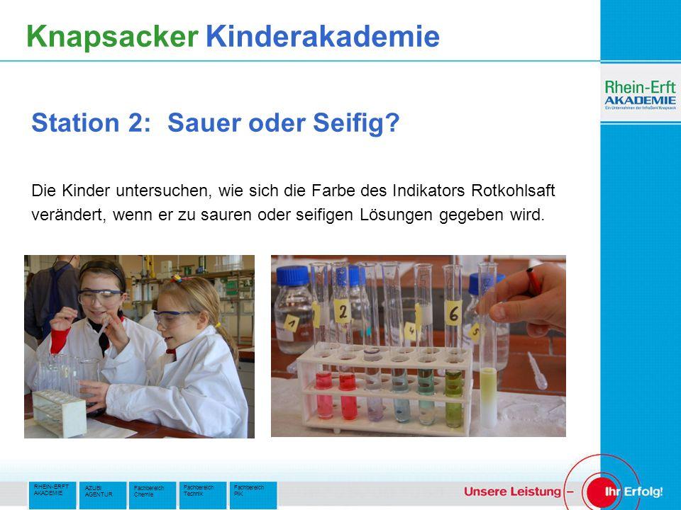 RHEIN-ERFT AKADEMIE Fachbereich PIK Fachbereich Technik AZUBI AGENTUR Fachbereich Chemie Knapsacker Kinderakademie Station 2: Sauer oder Seifig.