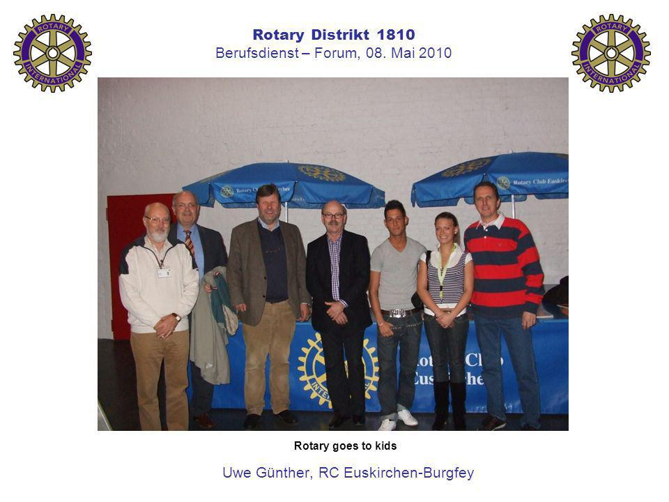 Rotary Distrikt 1810 Berufsdienst – Forum, 08. Mai 2010 Uwe Günther, RC Euskirchen-Burgfey Rotary goes to kids