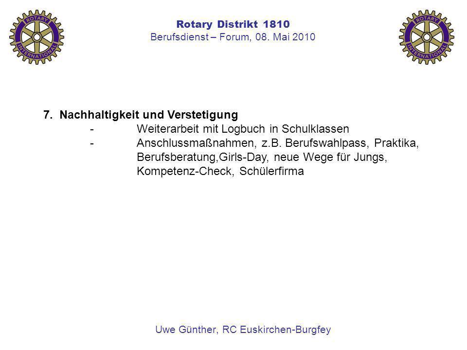 Rotary Distrikt 1810 Berufsdienst – Forum, 08. Mai 2010 Uwe Günther, RC Euskirchen-Burgfey 7. Nachhaltigkeit und Verstetigung -Weiterarbeit mit Logbuc