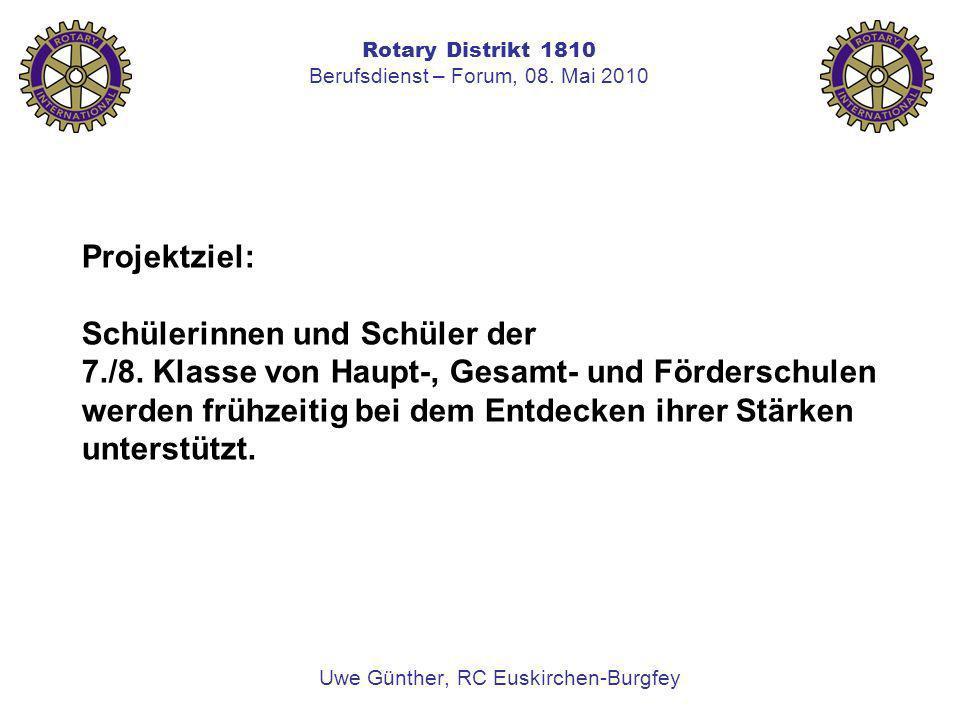 Rotary Distrikt 1810 Berufsdienst – Forum, 08. Mai 2010 Uwe Günther, RC Euskirchen-Burgfey Projektziel: Schülerinnen und Schüler der 7./8. Klasse von