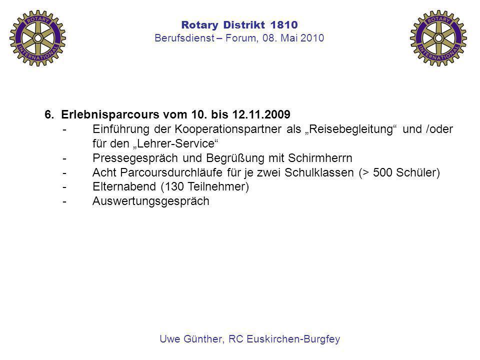 Rotary Distrikt 1810 Berufsdienst – Forum, 08. Mai 2010 Uwe Günther, RC Euskirchen-Burgfey 6. Erlebnisparcours vom 10. bis 12.11.2009 -Einführung der