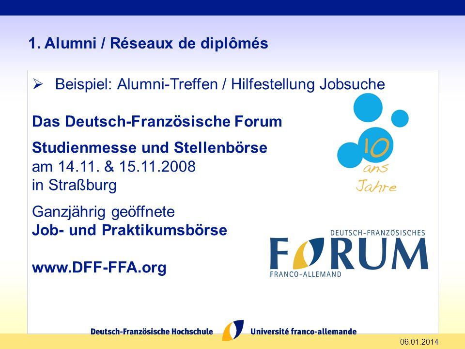 06.01.2014 1. Alumni / Réseaux de diplômés Beispiel: Alumni-Treffen / Hilfestellung Jobsuche Das Deutsch-Französische Forum Studienmesse und Stellenbö