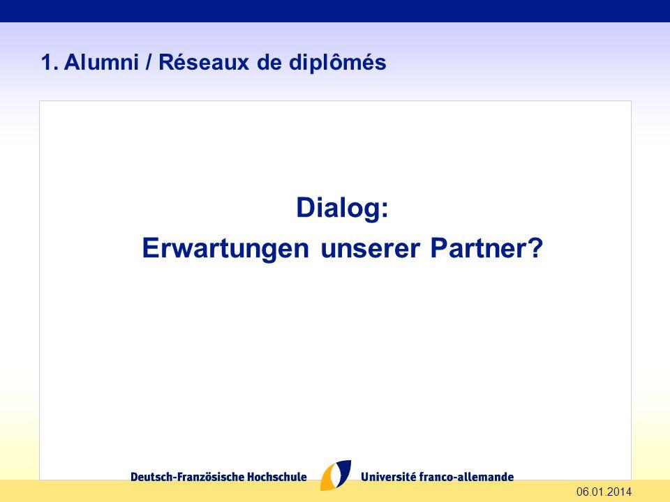 06.01.2014 1. Alumni / Réseaux de diplômés Dialog: Erwartungen unserer Partner?