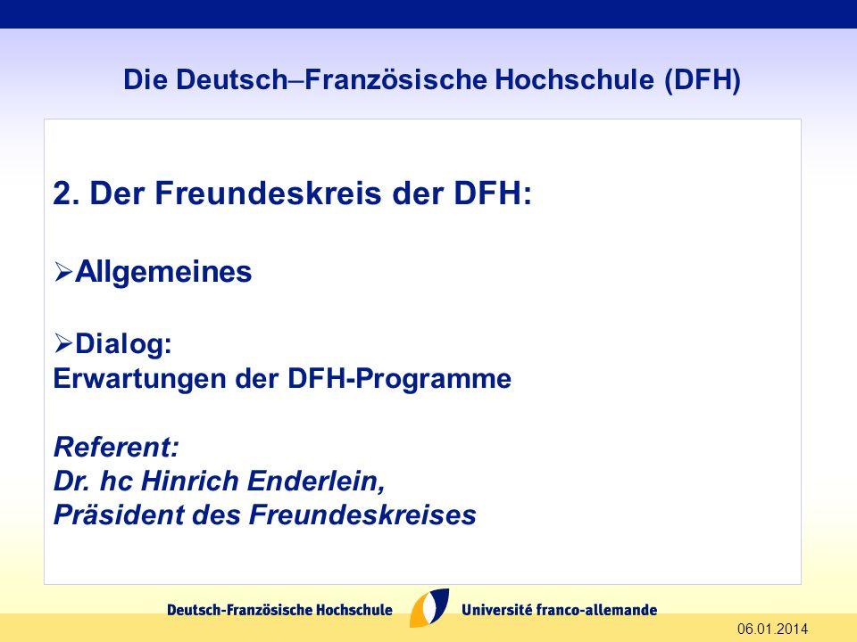 2. Der Freundeskreis der DFH: Allgemeines Dialog: Erwartungen der DFH-Programme Referent: Dr. hc Hinrich Enderlein, Präsident des Freundeskreises 06.0