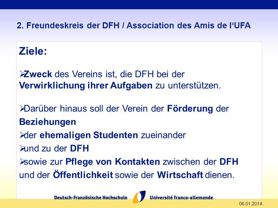 06.01.2014 2. Freundeskreis der DFH / Association des Amis de lUFA Ziele: Zweck des Vereins ist, die DFH bei der Verwirklichung ihrer Aufgaben zu unte