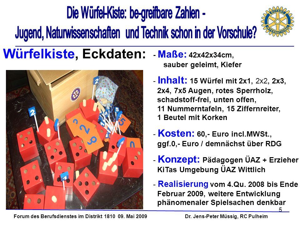 5 Forum des Berufsdienstes im Distrikt 1810 09. Mai 2009 Dr. Jens-Peter Müssig, RC Pulheim - Maße: 42x42x34cm, sauber geleimt, Kiefer - Inhalt: 15 Wür