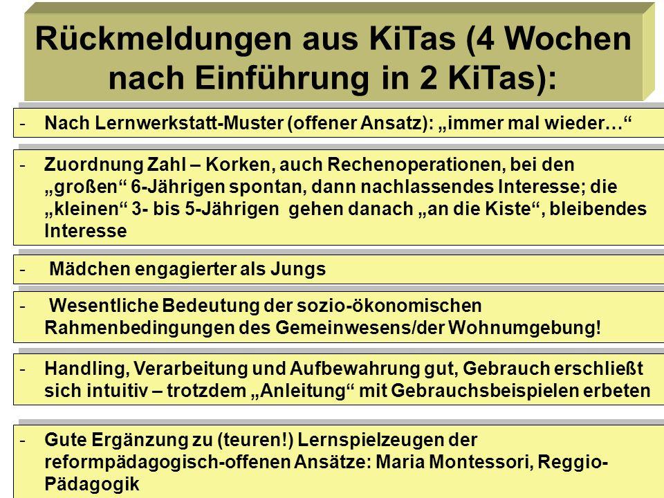 7 Rückmeldungen aus KiTas (4 Wochen nach Einführung in 2 KiTas): -Nach Lernwerkstatt-Muster (offener Ansatz): immer mal wieder… -Zuordnung Zahl – Kork