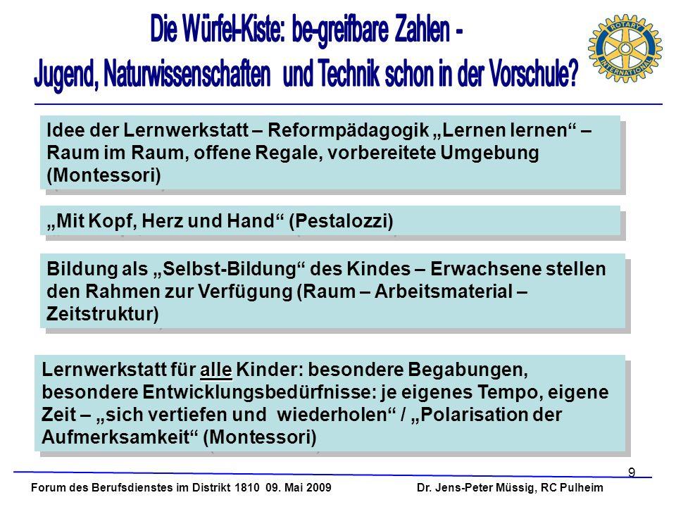 9 Forum des Berufsdienstes im Distrikt 1810 09. Mai 2009 Dr. Jens-Peter Müssig, RC Pulheim Idee der Lernwerkstatt – Reformpädagogik Lernen lernen – Ra
