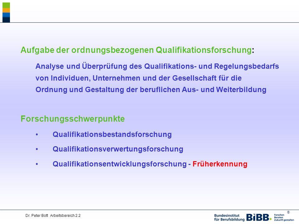 ® Dr. Peter Bott Arbeitsbereich 2.2 Aufgabe der ordnungsbezogenen Qualifikationsforschung: Analyse und Überprüfung des Qualifikations- und Regelungsbe