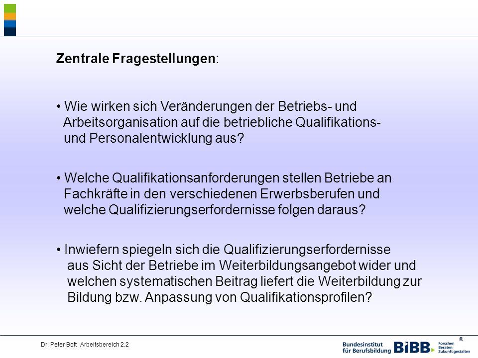 ® Dr. Peter Bott Arbeitsbereich 2.2 Zentrale Fragestellungen: Wie wirken sich Veränderungen der Betriebs- und Arbeitsorganisation auf die betriebliche