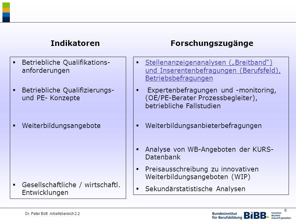 ® Dr.Peter Bott Arbeitsbereich 2.2 Arbeitsmarkt- und Berufsfeldprognosen (in Koop.