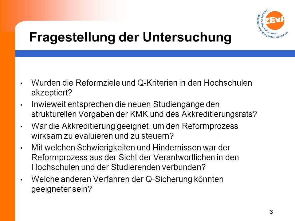 Fragestellung der Untersuchung 3 Wurden die Reformziele und Q-Kriterien in den Hochschulen akzeptiert.