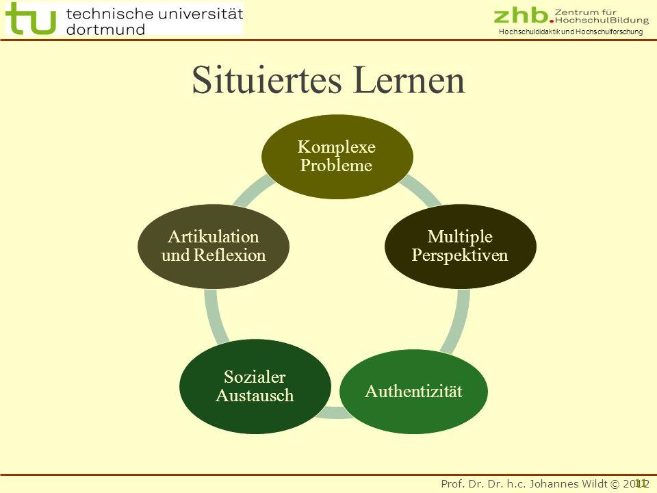 Prof. Dr. Dr. h.c. Johannes Wildt © 2012 Hochschuldidaktik und Hochschulforschung Situiertes Lernen Komplexe Probleme Multiple Perspektiven Authentizi