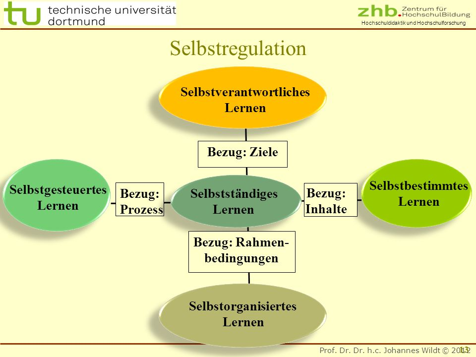 Prof. Dr. Dr. h.c. Johannes Wildt © 2012 Hochschuldidaktik und Hochschulforschung Bezug: Prozess Bezug: Ziele Bezug: Rahmen- bedingungen Selbstverantw