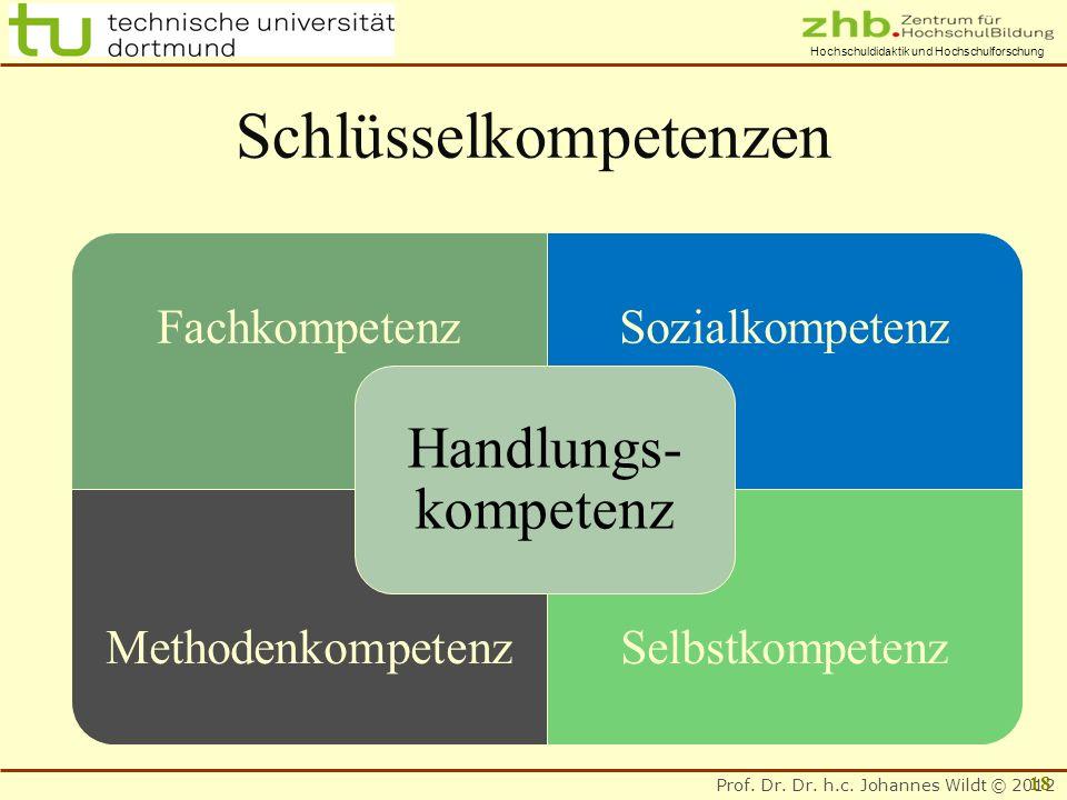 Prof. Dr. Dr. h.c. Johannes Wildt © 2012 Hochschuldidaktik und Hochschulforschung Schlüsselkompetenzen FachkompetenzSozialkompetenz MethodenkompetenzS