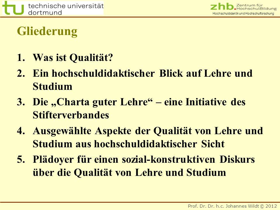 Prof. Dr. Dr. h.c. Johannes Wildt © 2012 Hochschuldidaktik und Hochschulforschung Gliederung 1.Was ist Qualität? 2.Ein hochschuldidaktischer Blick auf
